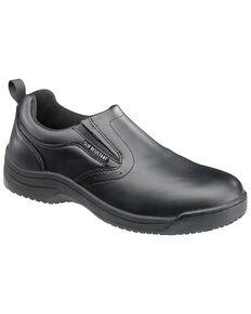 SkidBuster Men's Non-Slip Slip-On Leather Work Shoes, Black, hi-res