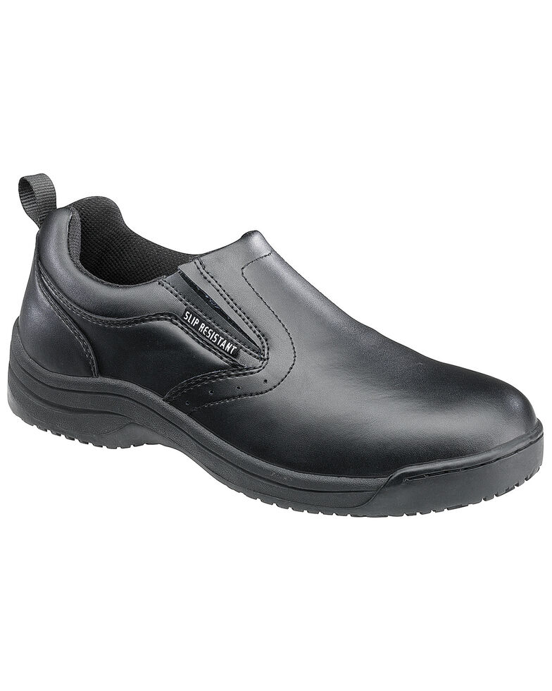 SkidBuster Men's Non-Slip Slip-On Leather Work Shoes, Black, hi-res