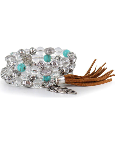 Shyanne Women's Beaded Feather Charm Bracelet, Multi, hi-res