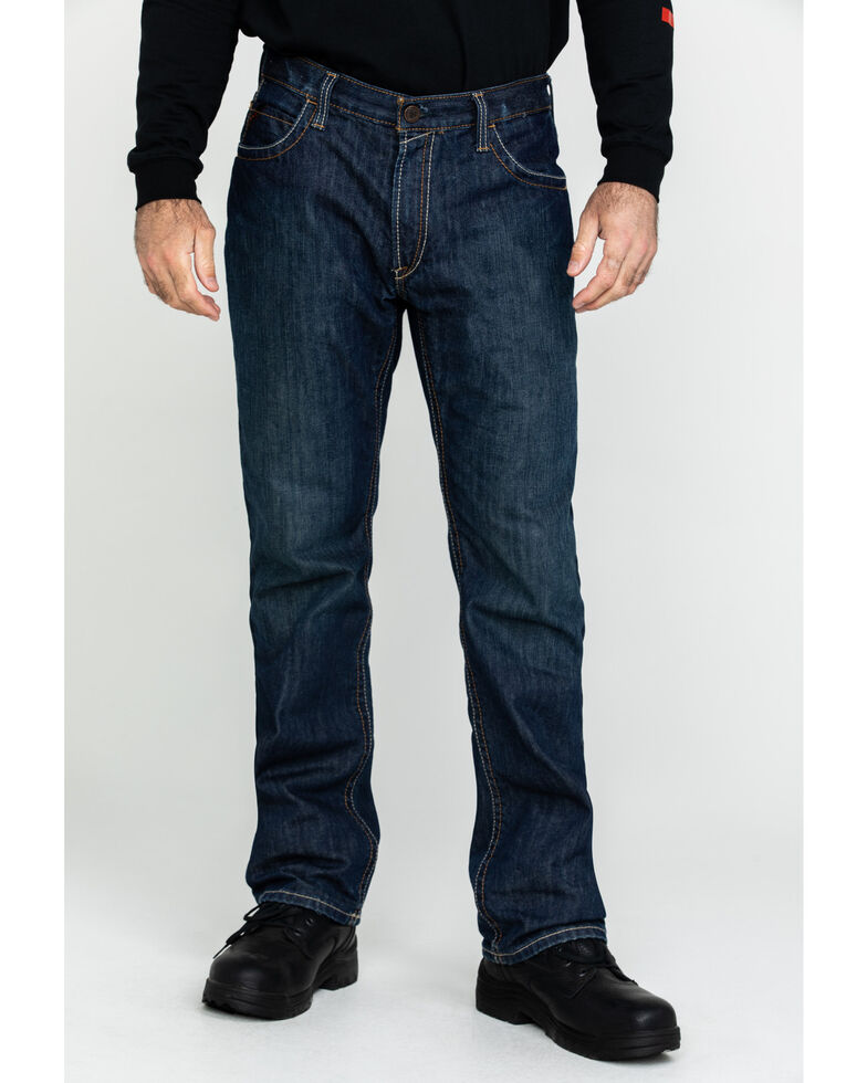 Ariat Shale Men's Flame Resistant Bootcut Work Jeans, Denim, hi-res