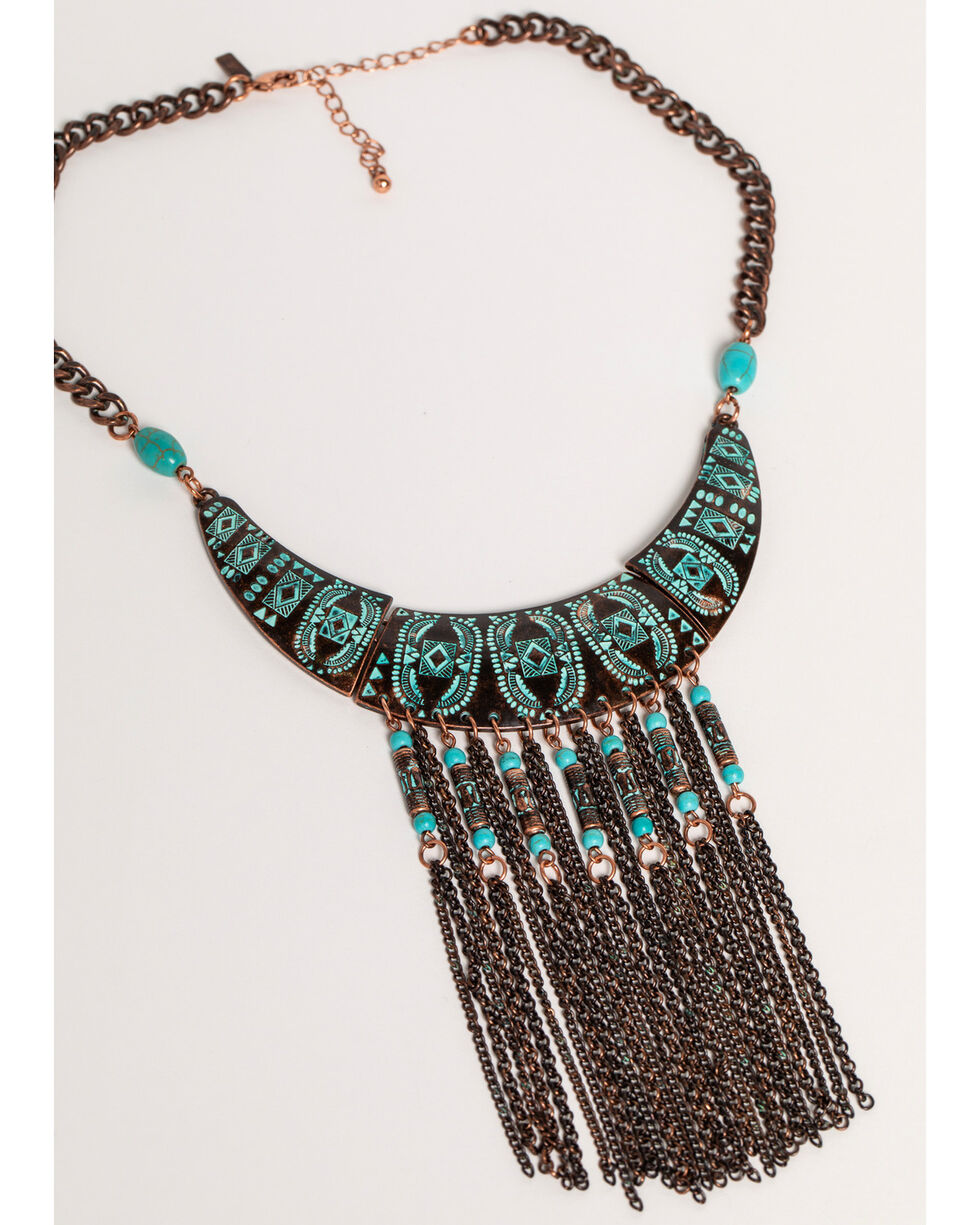 Shyanne Women's Sage Brush Fringe Statement Necklace, Turquoise, hi-res