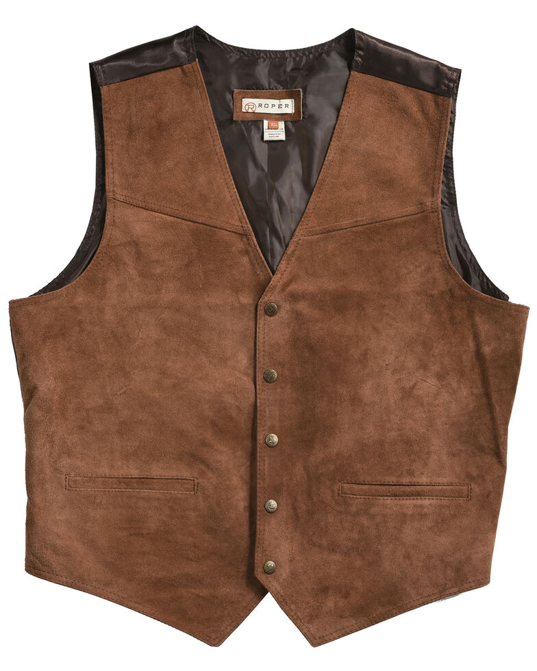 Roper Suede Boys' Buckle Tie Vest, Brown, hi-res