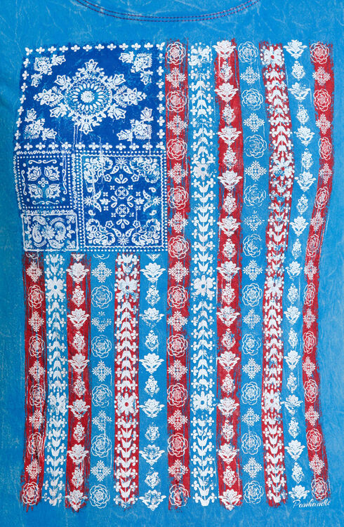 Panhandle Slim Women's Blue American Flag Bandana Print Short Sleeve Shirt , Blue, hi-res