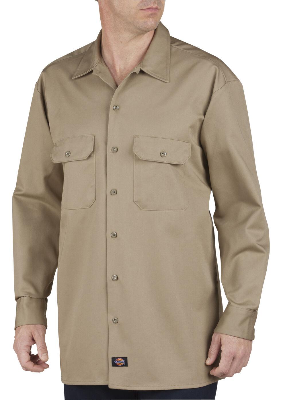 Dickies Heavyweight Cotton Work Shirt Big And Tall Khaki Hi Res