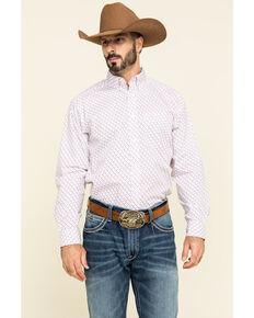 Ariat Men's Inman Small Geo Print Long Sleeve Western Shirt - Big , White, hi-res