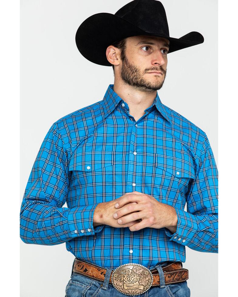 Wrangler Men's Wrinkle Resistant Multi Large Plaid Long Sleeve Western Shirt , Bright Blue, hi-res