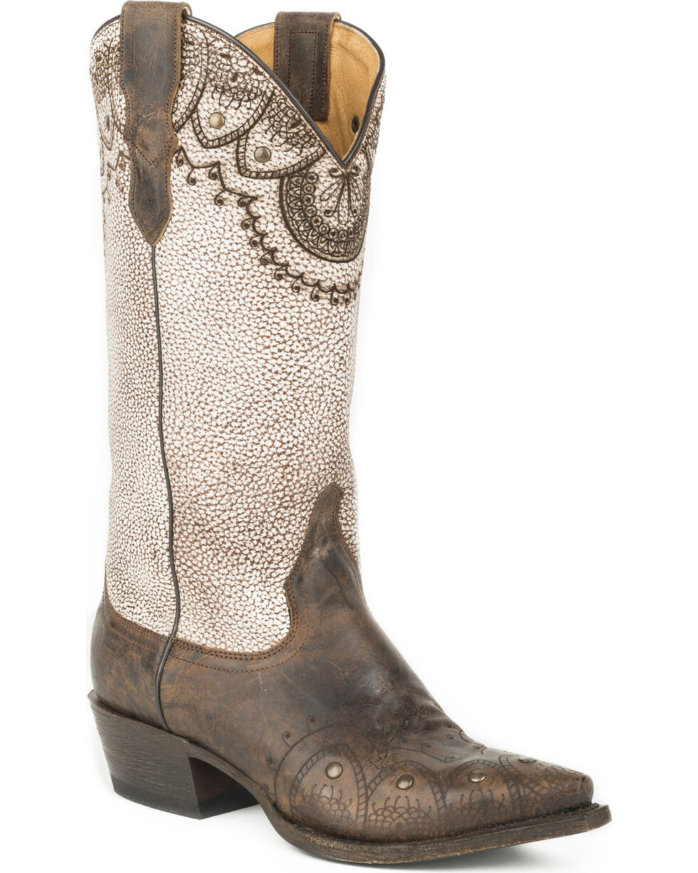 Roper Women's Lacey Mae Western Boots - Snip Toe , Tan, hi-res