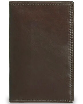 Lucchese Men's Brown Leather Vertical Bi-Fold Wallet, Dark Brown, hi-res