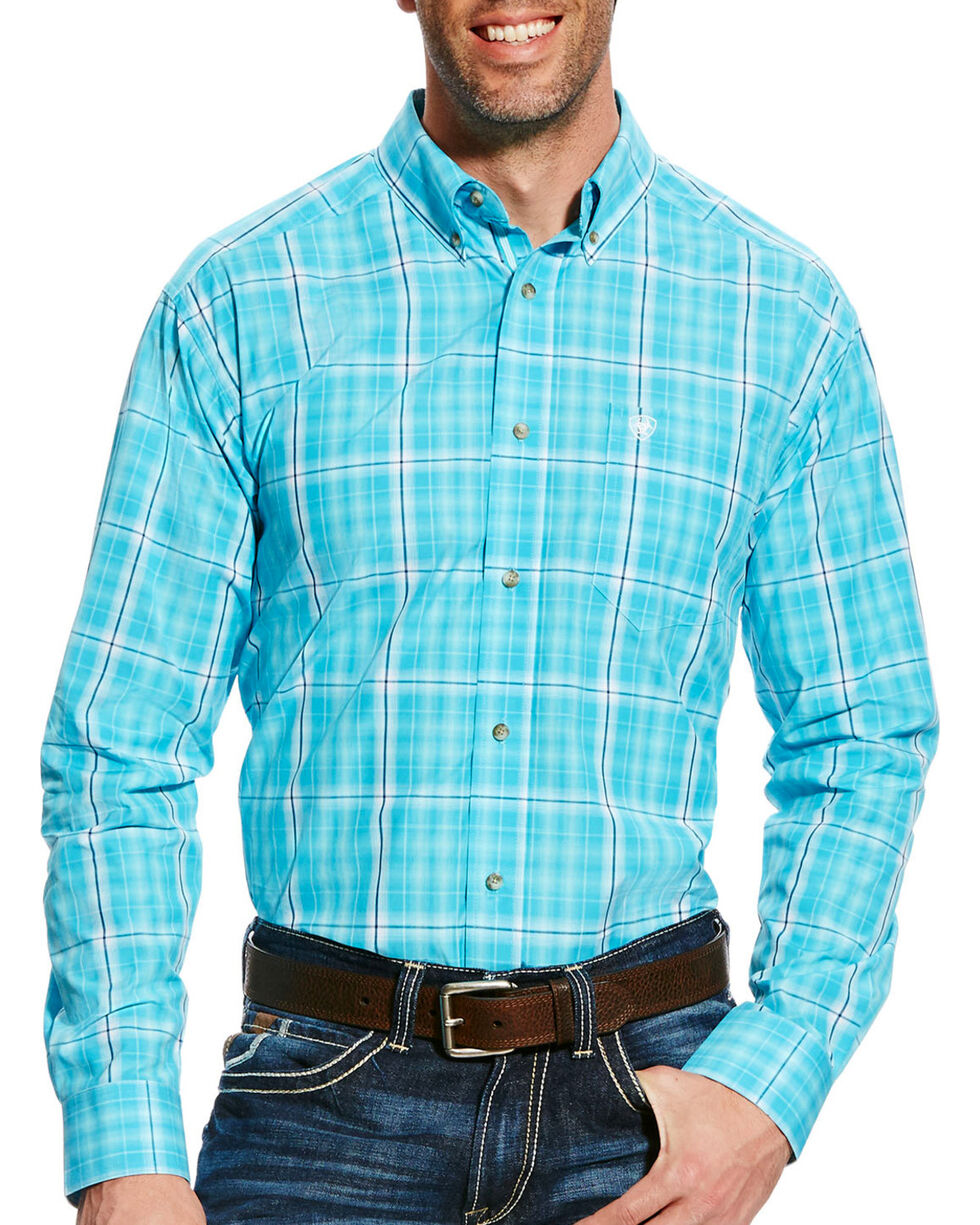 Ariat Men's Turquoise Gus Plaid Short Sleeve Shirt - Tall , Turquoise, hi-res