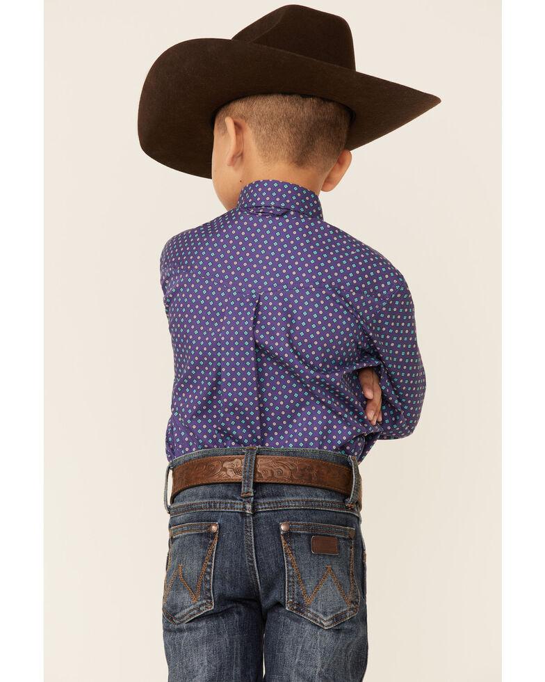 Amarillo Boys' Wildwood Mini Paisley Print Long Sleeve Button-Down Western Shirt , Purple, hi-res