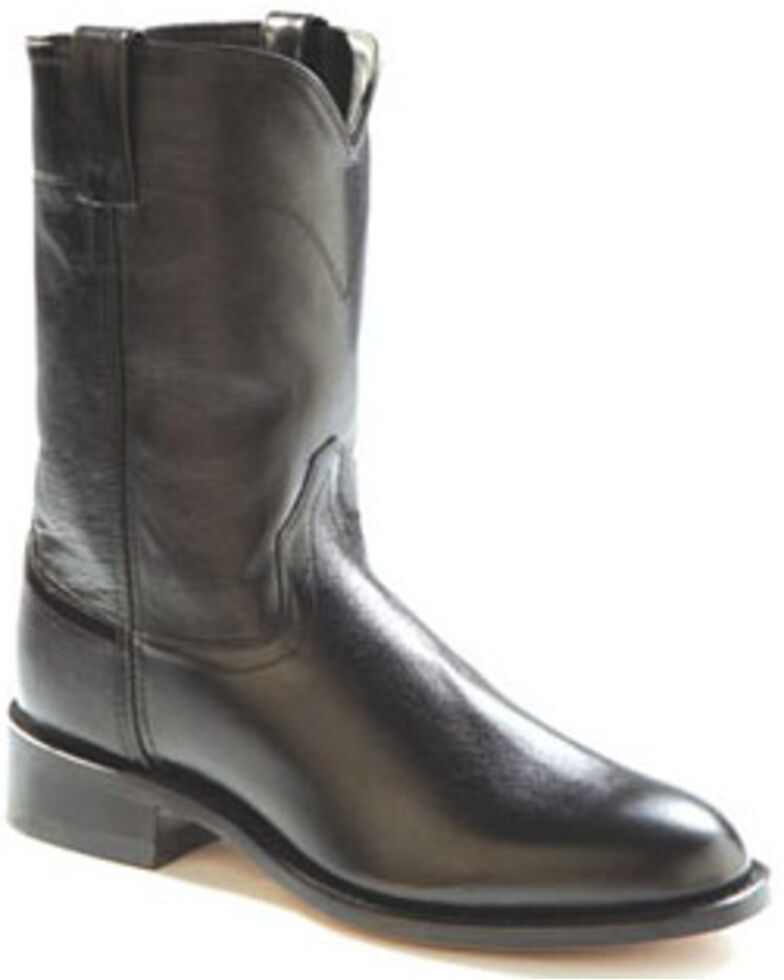 Old West Leather Roper Cowboy Boots, Black, hi-res