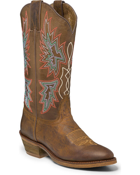 """Nocona Women's 12"""" Brown Vintage Cowgirl Boots - Round Toe, Brown, hi-res"""
