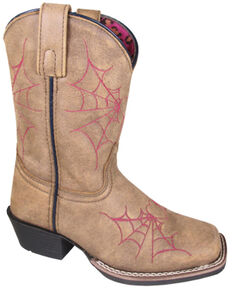 Smoky Mountain Girls' Charlotte Western Boots - Square Toe, Tan, hi-res