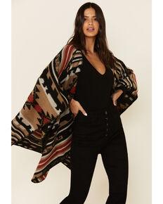 Shyanne Women's Autumn Black Aztec Shawl, Black, hi-res