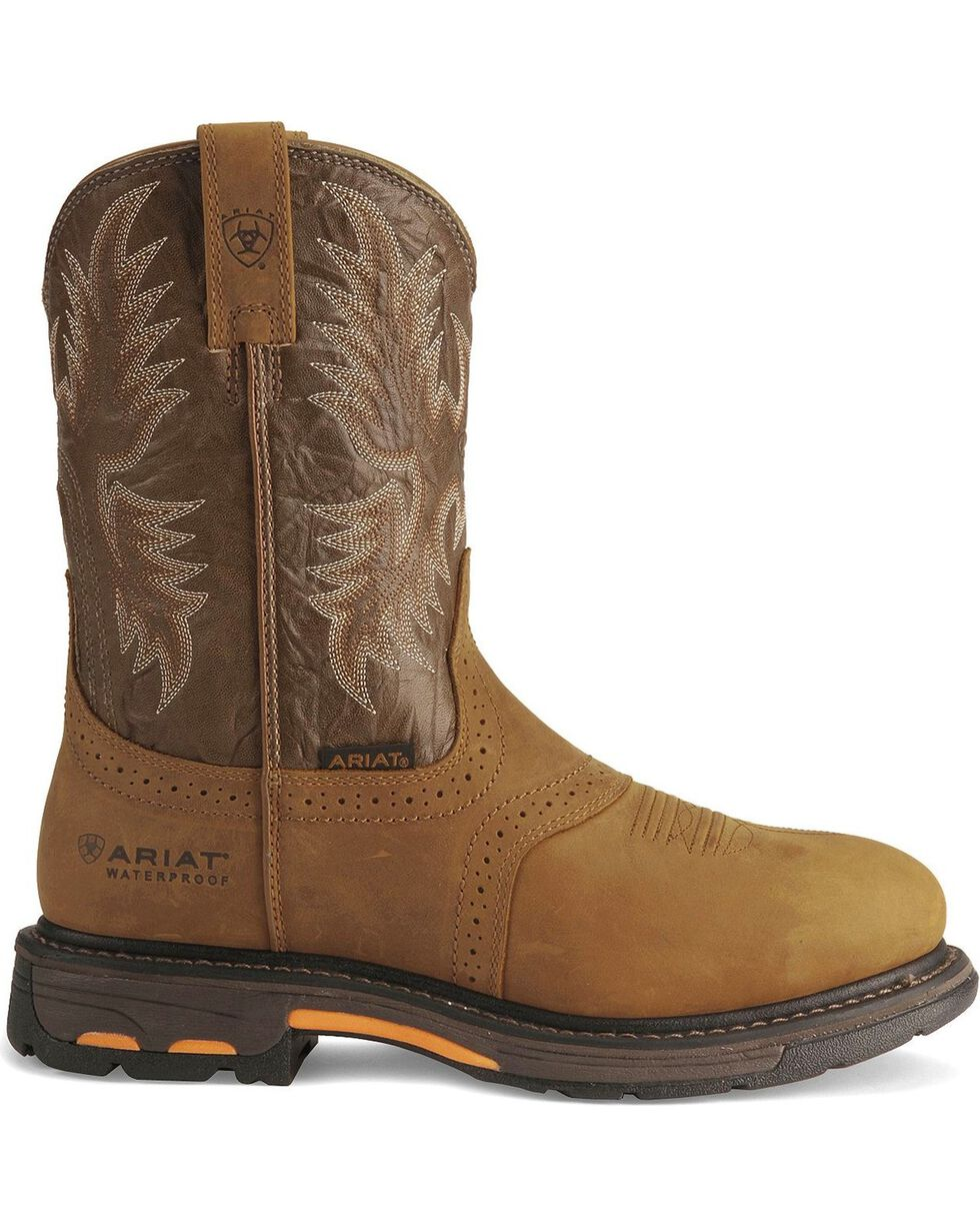Ariat Brown H20 Workhog Work Boots - Round Toe, Aged Bark, hi-res
