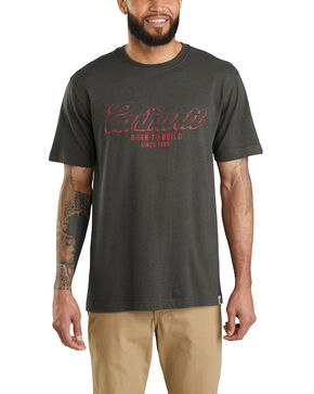 Carhartt Men's Born To Build Graphic Pocket Work T-Shirt - Big , Bark, hi-res