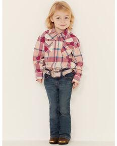 Shyanne Toddler Girls' Pink Fuscia Plaid Long Sleeve Western Core Shirt , Fuscia, hi-res