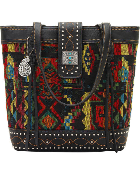 Bandana by American West Black Canyon Zip Top Tote, Black, hi-res