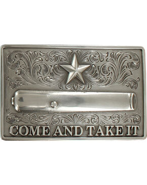 Nocona Men's Silver Come And Take It Belt Buckle , Silver, hi-res