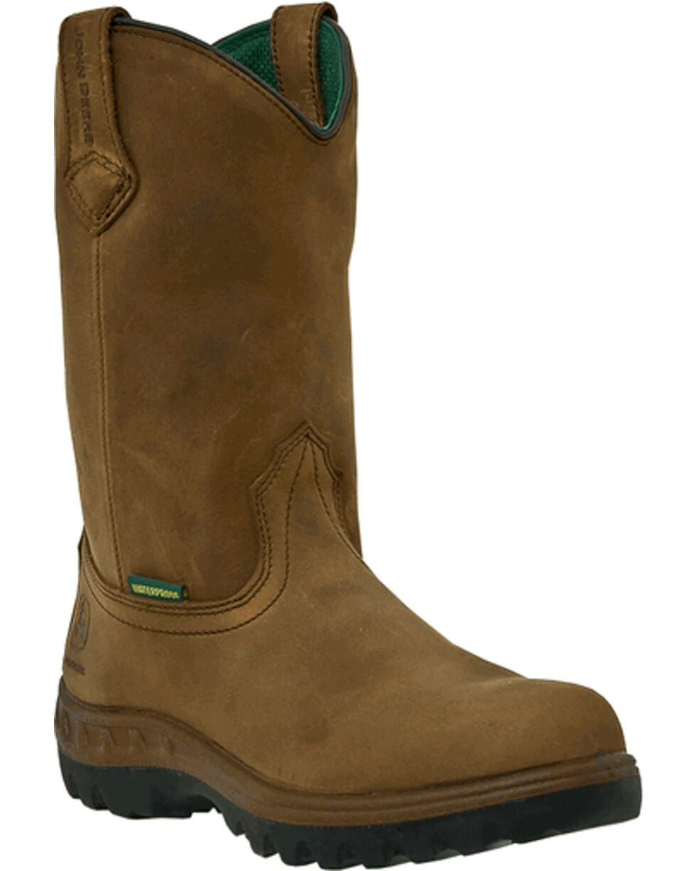 John Deere Men's Waterproof Wellington Work Boots - Steel Toe, Tan, hi-res