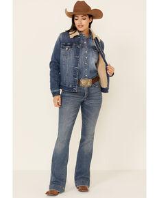 Shyanne Women's Albuquerque Medium Wash Lined Button-Down Sherpa Denim Jacket , Medium Blue, hi-res