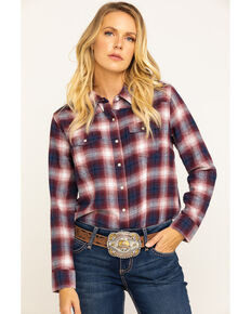 Cumberland Outfitters Women's Plaid Western Flannel, Burgundy, hi-res