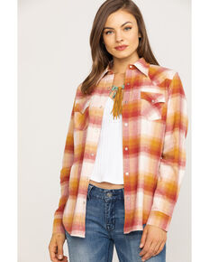 Wrangler Women's Rust & Mustard Plaid Flannel Shirt, Rust Copper, hi-res