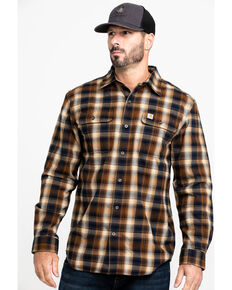 Carhartt Men's Navy Hubbard Flannel Long Sleeve Work Shirt - Big, Navy, hi-res