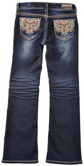 Grace in LA Girls' Lattice Scroll Pocket Bootcut Jeans , Indigo, hi-res