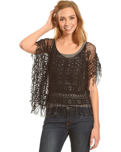 Panhandle Women's Fringe Crochet Poncho, Black, hi-res