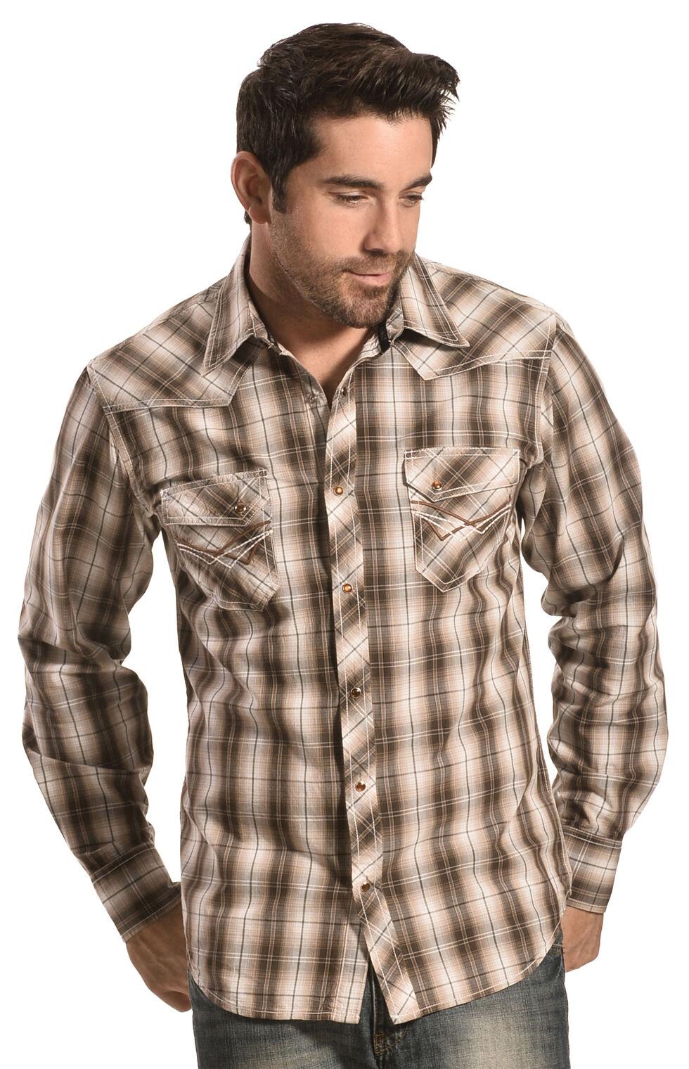 Ely Men's 1878 Brown Plaid Western Shirt , Brown, hi-res