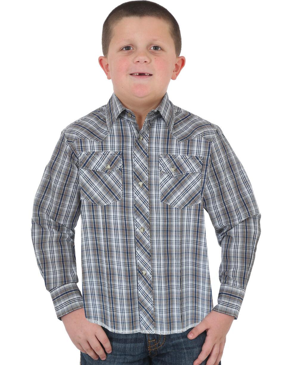 Wrangler Boys' Navy Western Snap Plaid Shirt , Navy, hi-res