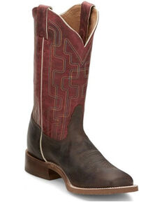 Tony Lama Women's Atchison Brown Western Boots - Wide Square Toe , Dark Brown, hi-res