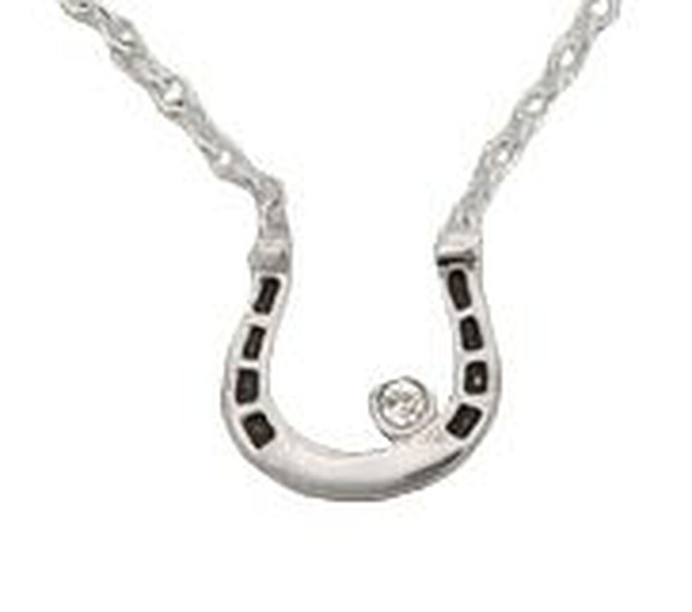 Montana Silversmiths Small Horseshoe & Rhinestone Necklace, Silver, hi-res