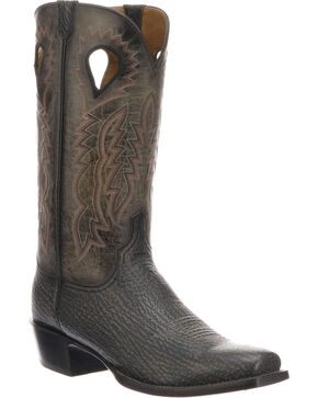 Lucchese Men's Handmade Bates Black Shark Pull Hole Western Boots - Square Toe, Black, hi-res