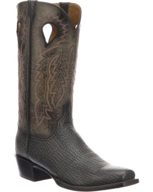 Lucchese Men's Handmade Bates Black Shark Pull Hole Western Boots - Square Toe, Black, hi-res