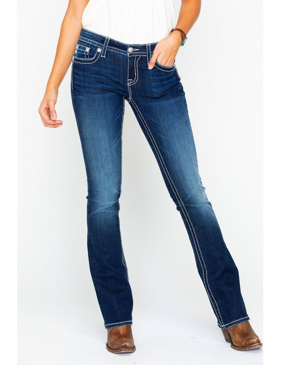 Miss Me Women's Floral Border Embroidered Pocket Boot Cut Jeans, , hi-res