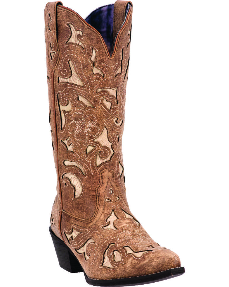Laredo Women's Sharona Cowgirl Boots - Snip Toe, Tan, hi-res