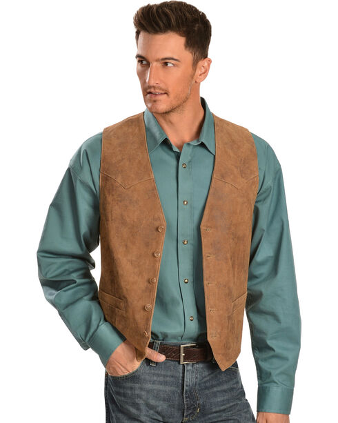 Scully Lamb Leather Western Vest, Maple, hi-res