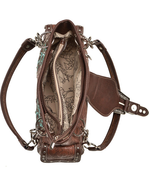 Savana Women's Brown Conceal Carry Faux Leather Satchel , Brown, hi-res