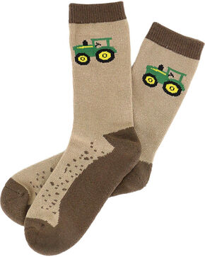 John Deere Boys' Dirt Socks, Brown, hi-res