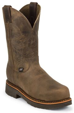 """Justin J-Max 8"""" Pull-On Work Boots - Composition Toe, Crazyhorse, hi-res"""