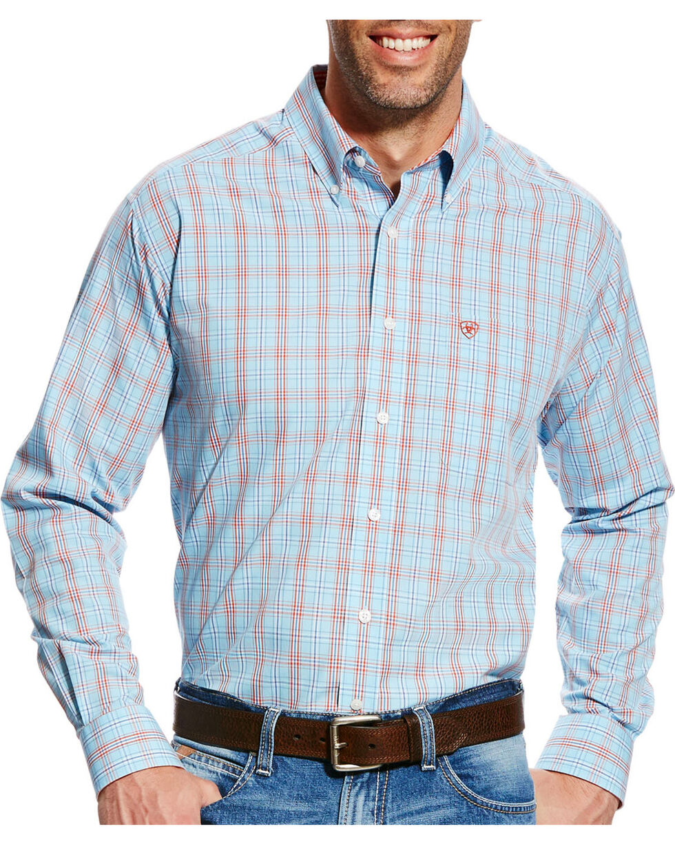 Ariat Men's Blue Kai Plaid Long Sleeve Shirt , Blue, hi-res