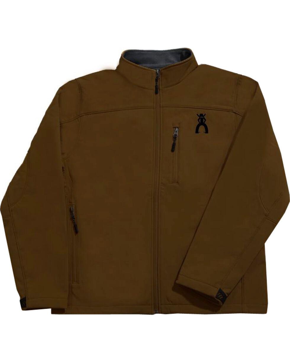 Hooey Men's Brown Soft Shell Black Fleece Lined Jacket , Brown, hi-res