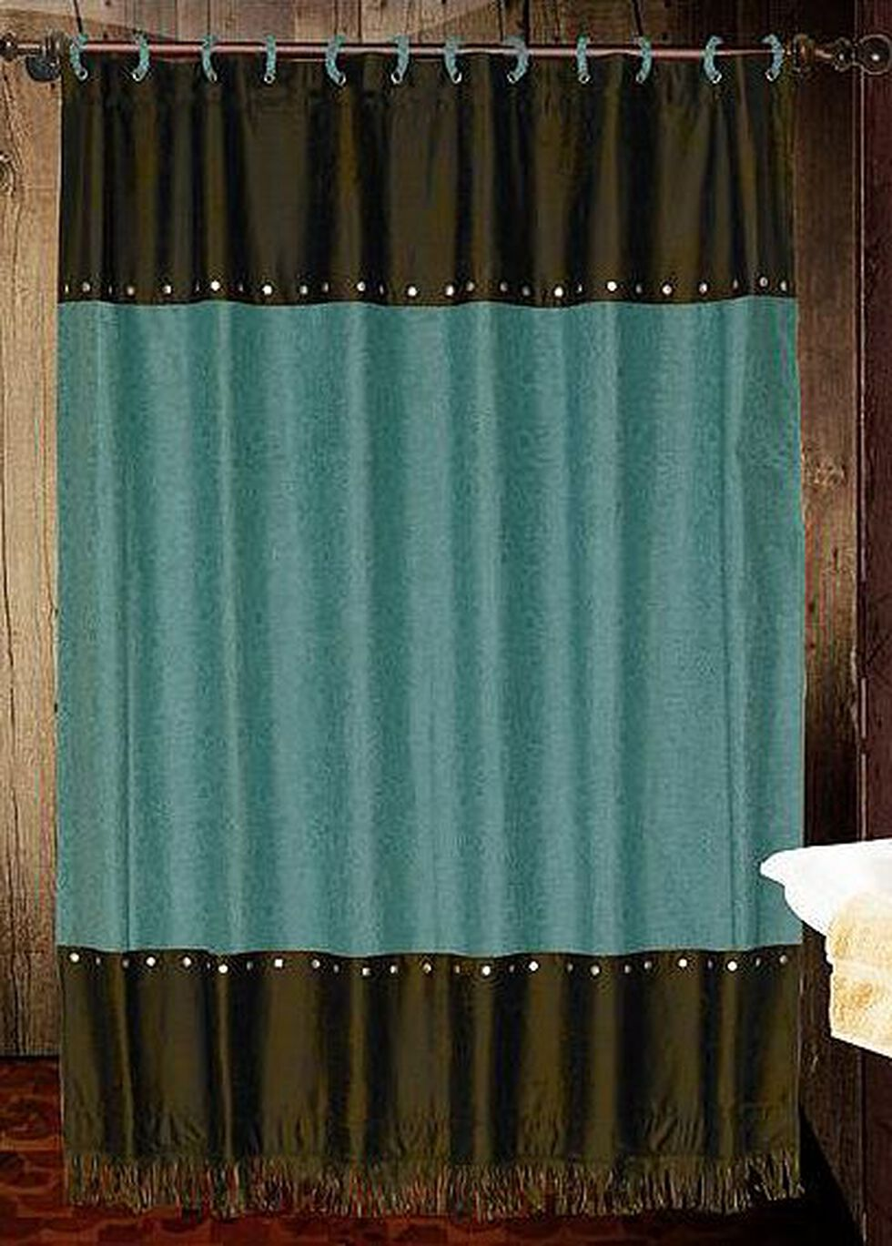 Cheyenne Turquoise Shower Curtain, Multi, hi-res