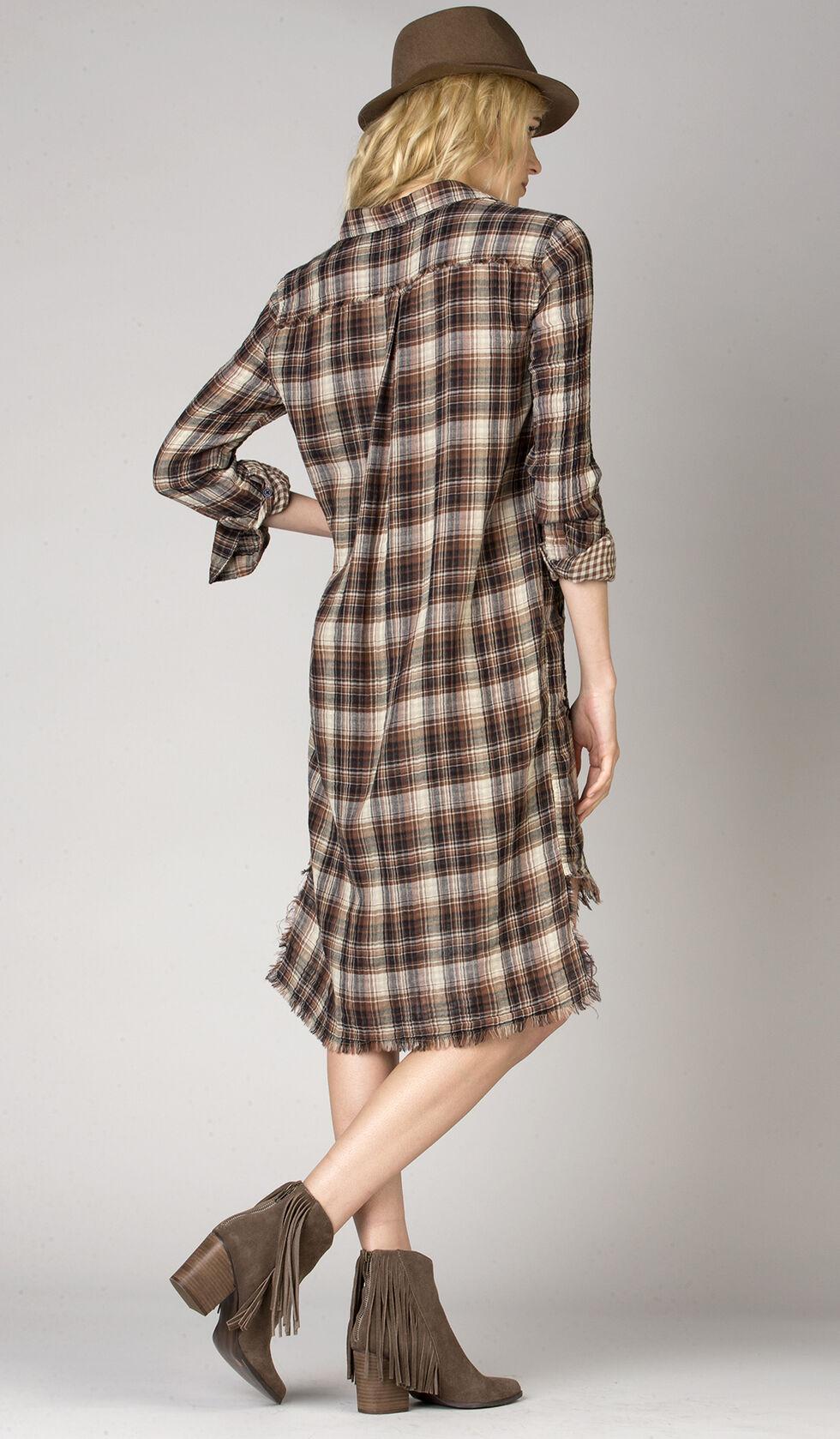 MM Vintage Women's Autumn Trails Plaid Shirt Dress , Brown, hi-res