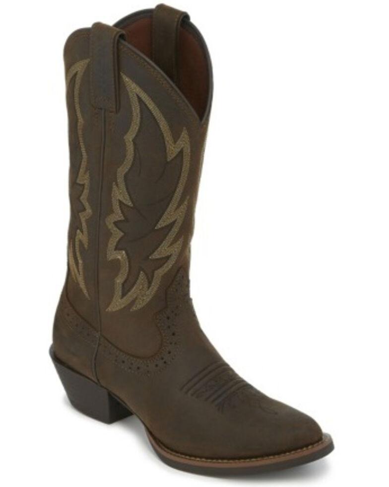Justin Women's Rosella Western Boots - Round Toe, Dark Brown, hi-res