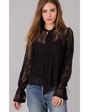 Others Follow Women's Allover Lace Bell Sleeve Long Sleeve Shirt, Black, hi-res