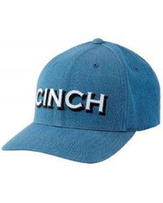 Cinch Men's Solid Blue Logo Applique Flex-Fit Ball Cap , Blue, hi-res