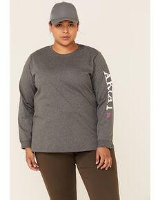 Ariat Women's FR Heather Charcoal Ascend Logo Long Sleeve Work T-Shirt - Plus, Charcoal, hi-res